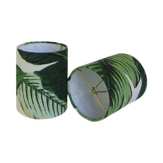 New, Made to Order, Drum Chandelier or Sconce Shades, Tommy Bahama Palm, Set of Two For Sale