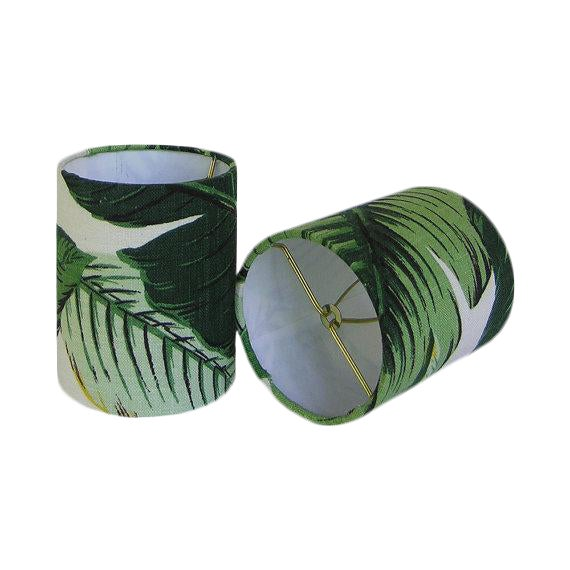 New, Made to Order, Drum Chandelier or Sconce Shades, Tommy Bahama Palm, Set of Two - Image 1 of 2
