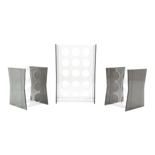 Set of Three Lucite Wine Racks or Stands For Sale