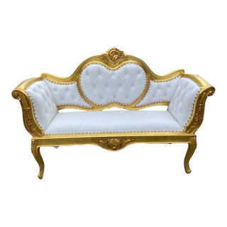 French Louis XVI Style Settee/Bench/Sofa in Leather For Sale