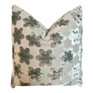 Sea Foam Custom Luxury European Velvet Cutout Large Square Pillow For Sale