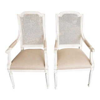 Late 20th Century French Style High Back Arm Chairs- A Pair For Sale