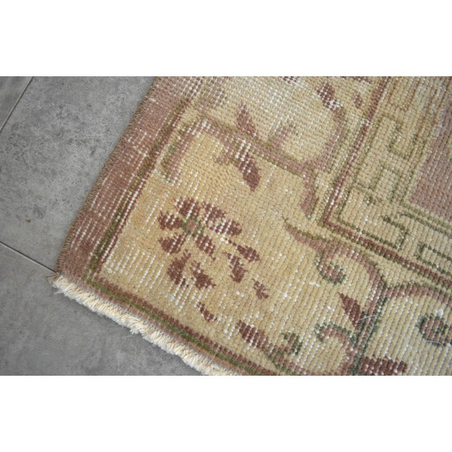 Textile Vintage Turkish Hand Knotted Area Rug Distressed and Faded Colors - 5′1″ × 8′4″ For Sale - Image 7 of 9