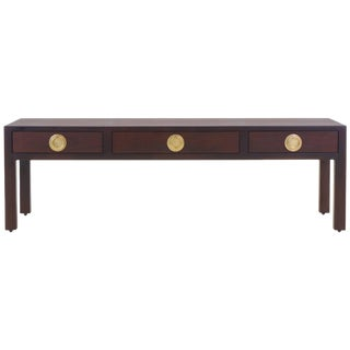 Edward Wormley for Dunbar Two Tone Mahogany and Brass Coffee Table With Drawers For Sale