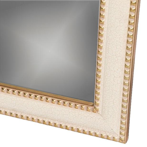 2010s Contemporary Cream Crackle Finished Rectangular Wood Framed Wall Mirror For Sale - Image 5 of 8