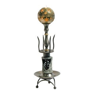 Reclaimed Small Brass Ball Snowflake Cutout Table Lamp For Sale