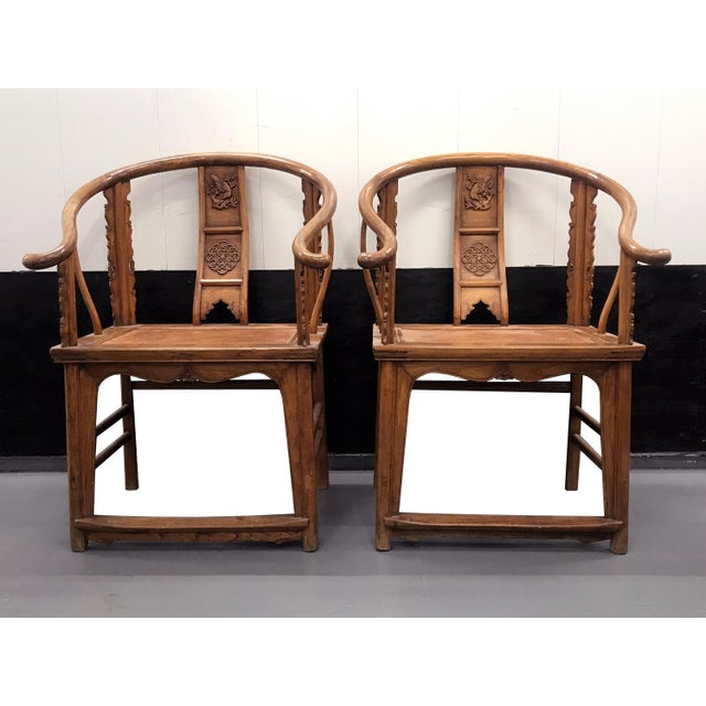 19th Century Large Chinese Ming-Style Horseshoe Back Chairs- A Pair For Sale - Image 13 of 13