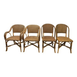 Leather and Bamboo Woven Chairs - Set of 4 For Sale