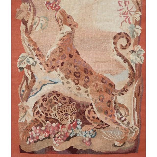 Stark Carpet Vintage Framed Stark Romanian Aubusson Tapestry Rug With Leopards For Sale - Image 4 of 13