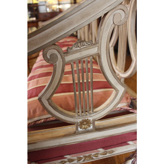1900s Triple Lyre Back Settee For Sale - Image 4 of 8