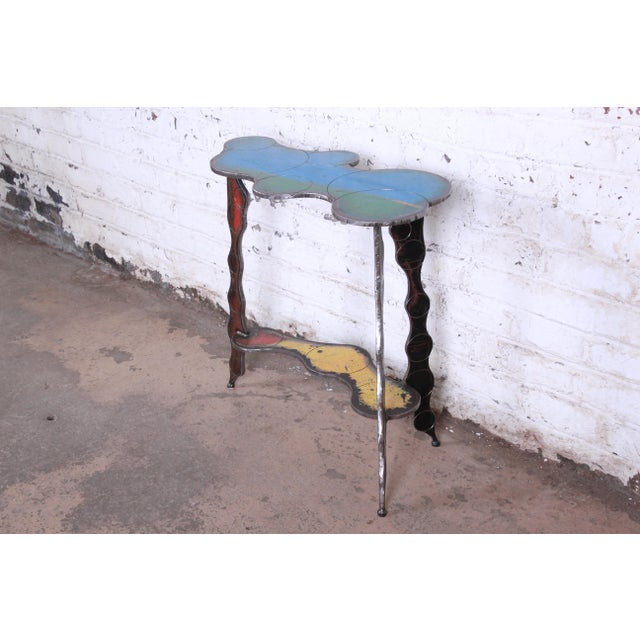 Cindy Wynn Industrial Postmodern Forged Metal Console Table Signed Cindy Wynn For Sale - Image 4 of 11