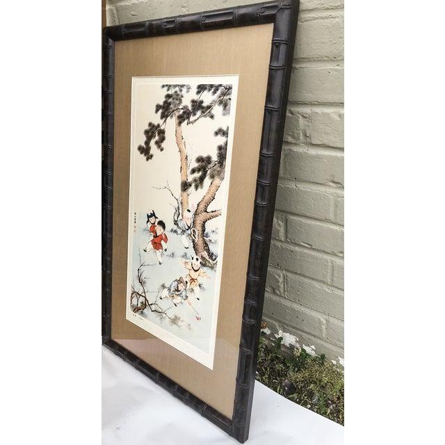 Vintage Chinoiserie Asian Children Framed Print - Image 4 of 7
