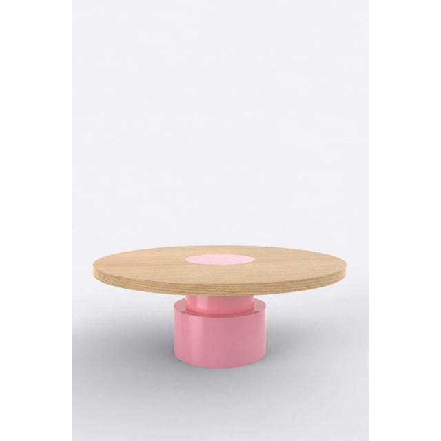 Postmodern Contemporary 100C Coffee Table in Oak and Pink by Orphan Work, 2020 For Sale - Image 3 of 3