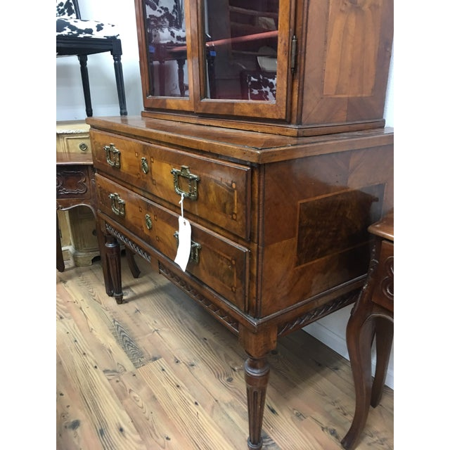 Metal Antique 19th C. European Glass Display Cabinet / Bookcase With Marquetry For Sale - Image 7 of 12