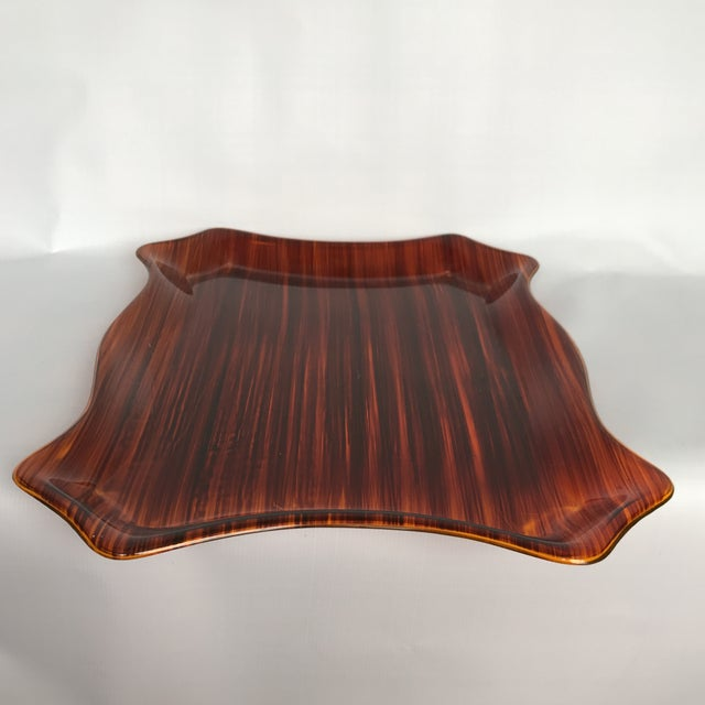 Mid Century Faux Bois Tray For Sale - Image 4 of 8