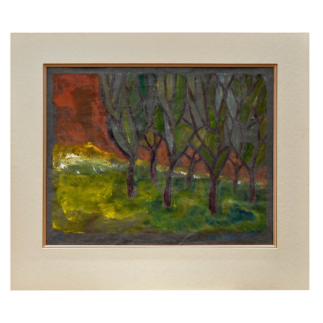 "Beautiful and haunting painting, titled ""Edge of the Forest', by Fritz Blumenthal (Germany, 1913 to 2002). Born Mainz,..."
