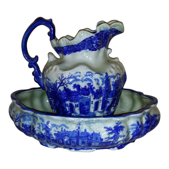 Vintage Chinese Flow Blue Pitcher & Wash Basin - A Pair - Image 1 of 10