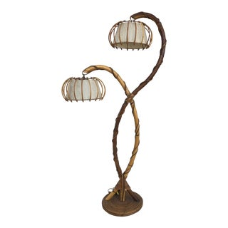 1970's French Bamboo Lamp For Sale