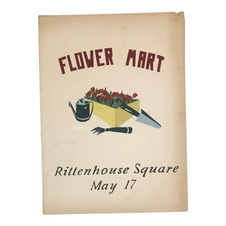 1960s Vintage Rittenhouse Square Flower Mart Advertising Painting For Sale