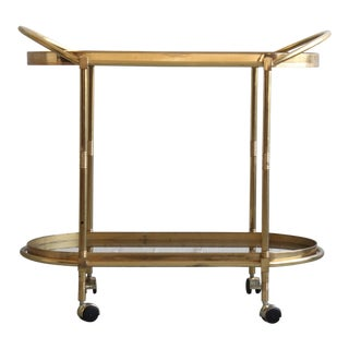 Modern Brass Two Tier Bar Cart For Sale