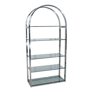 Mid Century Modern Tall Curved Chrome & Glass Etagere Shelving Baughman 1970s For Sale