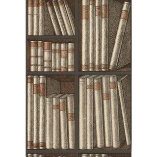 Cole & Son Ex Libris Wallpaper Roll - Oat/Charcoal For Sale