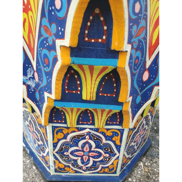 Moroccan Lg Ceuta 5 Painted and Carved Star Table, Multi-Color For Sale - Image 4 of 8