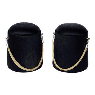 """Bearskin Hat"" Black & Gold Poufs - A Pair For Sale"