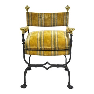 Antique Italian Iron Campaign Armchair