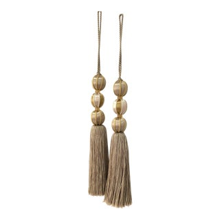 Neutral Beaded Key Tassels- H 7.5 Inches - a Pair For Sale