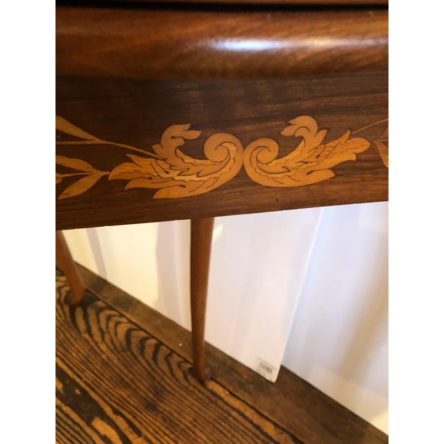 Figurative 19th Century Traditional Triangular Mixed Wood Card Table For Sale - Image 3 of 12