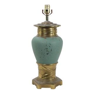 Vintage Porcelain Robin Egg Blue and Brass Lamp (2) For Sale