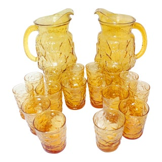 1960s Traditional Anchor Hocking Amber Pitcher and Glasses Drink - 18 Piece Set For Sale