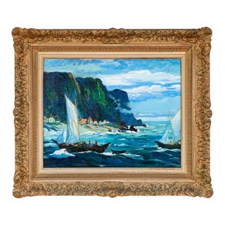 """""""Sailboats Near Eastport, Maine"""" George Pearse Ennis (1884 - 1936) 1920s Oil Painting on Canvas For Sale"""
