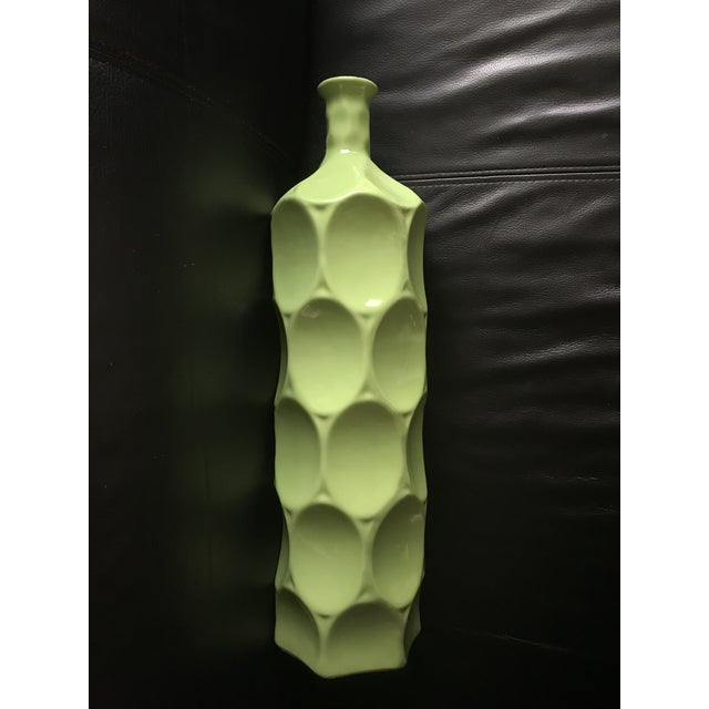 Abstract Mid Century Style Chartreuse Green Bottle Vase For Sale - Image 3 of 3