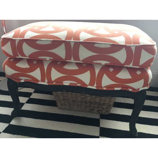 French Style Orange Bergere Chairs & Ottoman - S/3 - Image 5 of 6