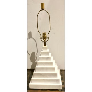 Jonathan Adler for Robert Abbey Co. Modern White Marble Pyramid Table Lamp With Shade Preview