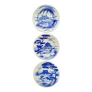 Hand-Painted Italian Ceramic Blue and White Plates - Set of 3 For Sale