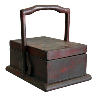 Chinese Pine Wood Box With Handle from Beijing For Sale