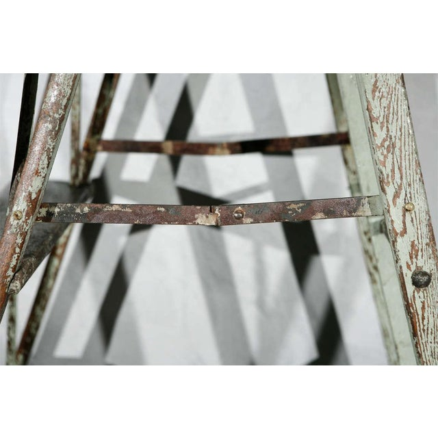 Green Vintage Painted Ladder as a Display Stand For Sale - Image 8 of 10