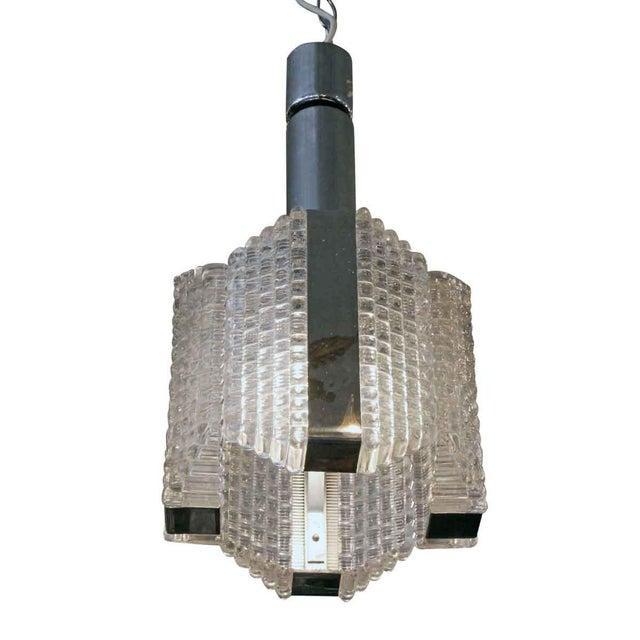 1960s 1960s Mid-Century Glass Chrome Pendant Light For Sale - Image 5 of 8
