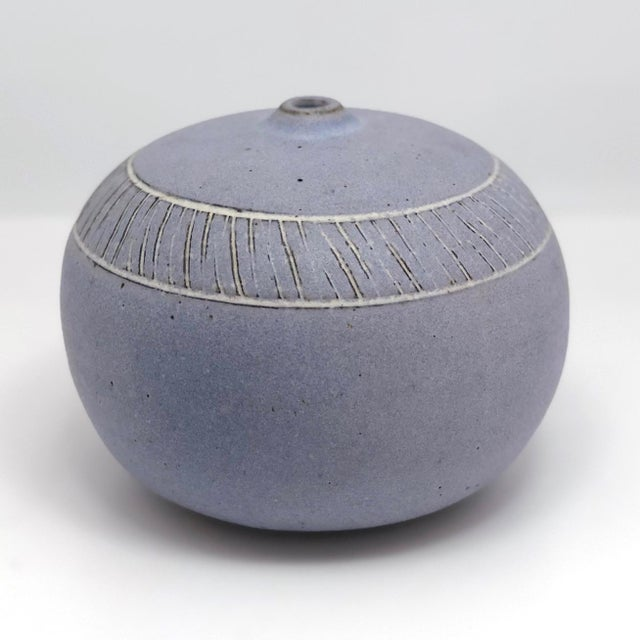 Contemporary Pale Purple Weed Vase With Sgraffito Decoration For Sale - Image 3 of 13