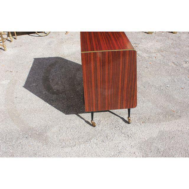 Danish Modern 1940s Vintage Macassar French Art Deco Swivel Bar Cabinet For Sale - Image 3 of 13