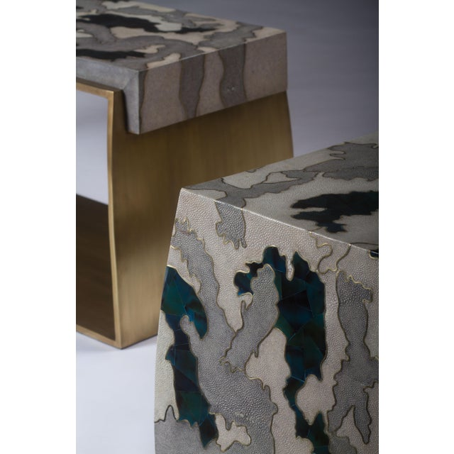 Camouflage-Pattern Inlaid Stool / Mini Bench in Shagreen & Shell by R&y Augousti For Sale In New York - Image 6 of 12