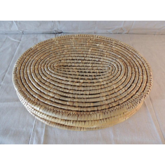 Tan Set of (6) Oval Woven Abaca Placemats For Sale - Image 8 of 9