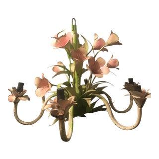 Vintage Tole Flower Chandelier For Sale