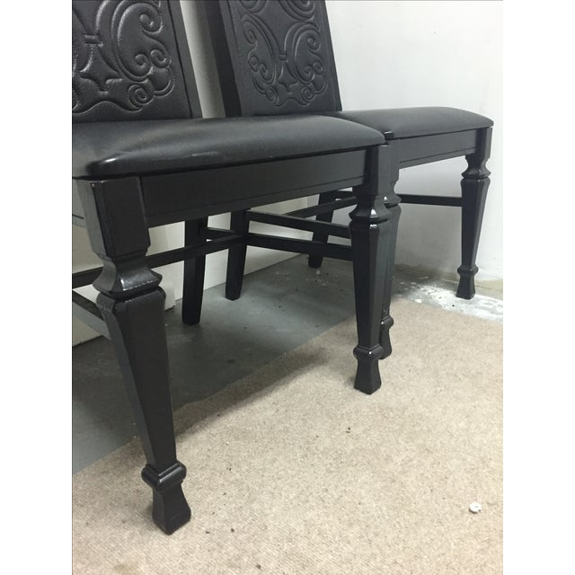 Black Mexican Leather Chairs - A Pair - Image 4 of 6