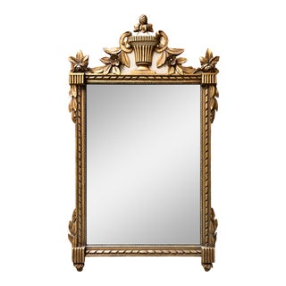 Antique Carved Italian Giltwood Federal Wall Mirror For Sale