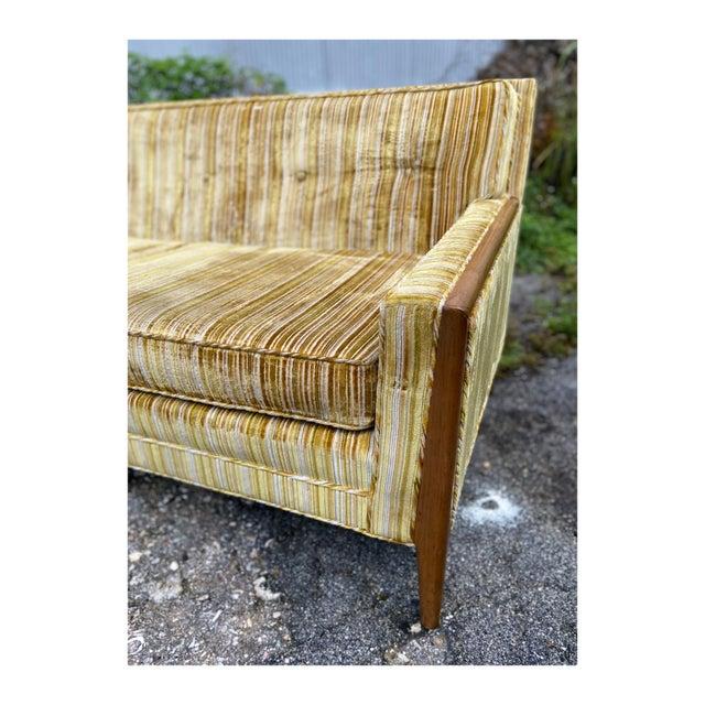 Mid-Century Modern Mid-Century Modern Yellow Striped Variegated Velvet Sofa For Sale - Image 3 of 13