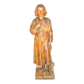 19th Century Carved Wood Saint Statue For Sale